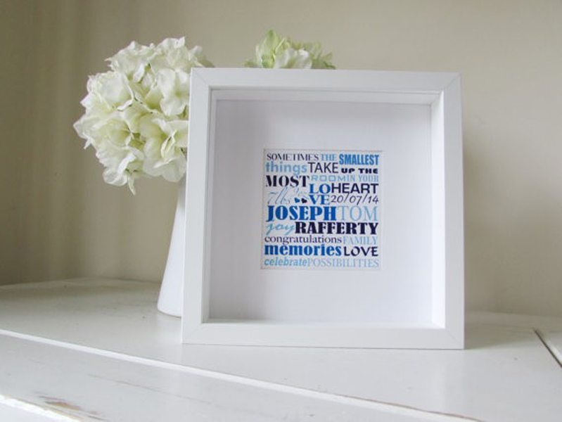 Framed Baby Shower Word Art, Baby Gift Ideas for Baby Shower | Cuando