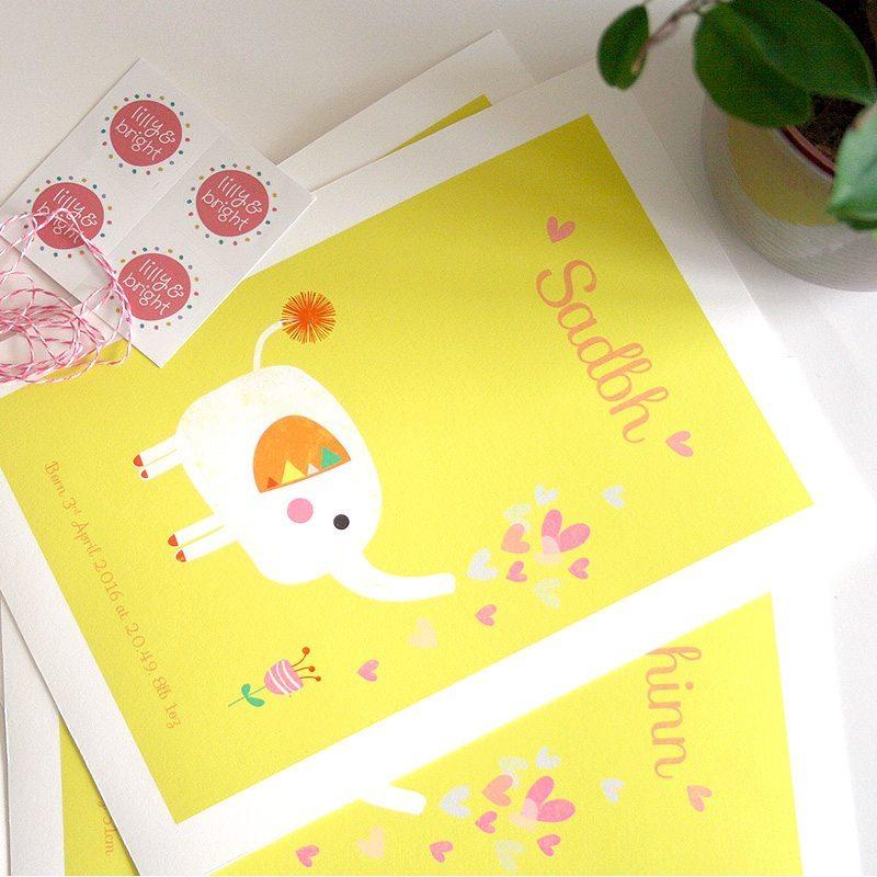 Unique Personalised Baby Gifts Ireland : Elephantflowerprint custom kid s birthday gift new baby