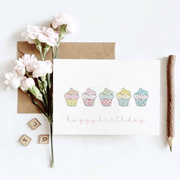 Happy Birthday Pastel Cupcakes Card