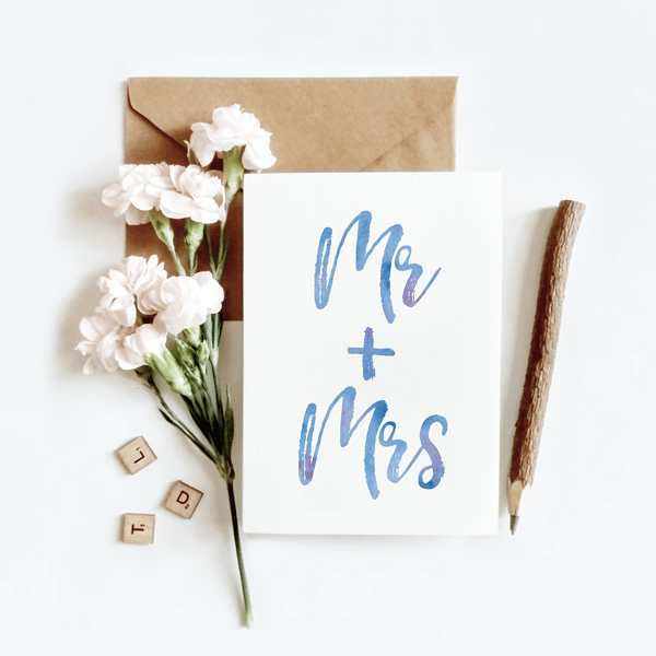 mr and mrs watercolour wedding card wedding gift card idea cuando