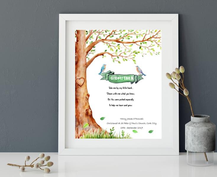 Godmother Wedding Gift: Personalised Godparent Print