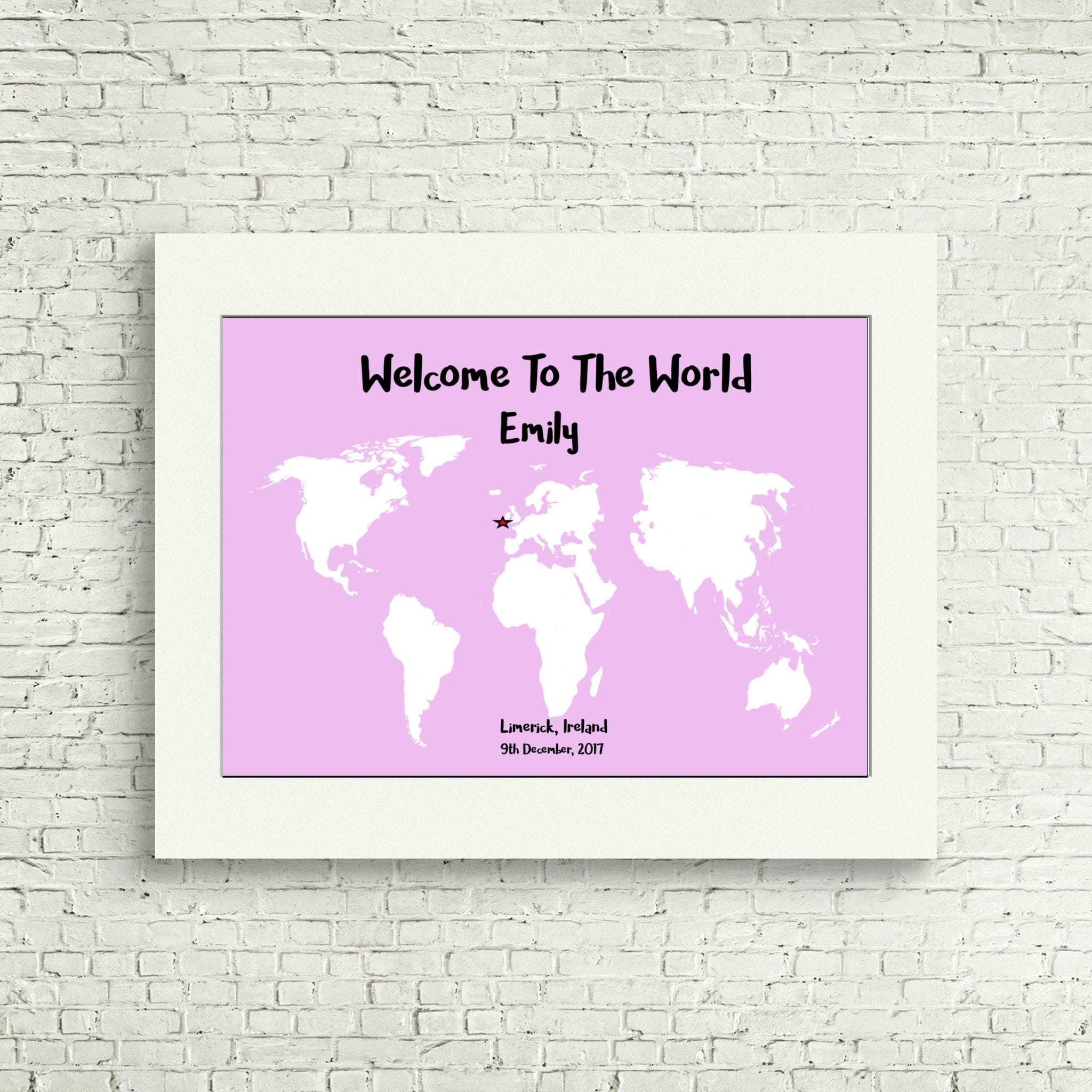 Personalised Baby Gift - Welcome To The World Print Made in Ireland