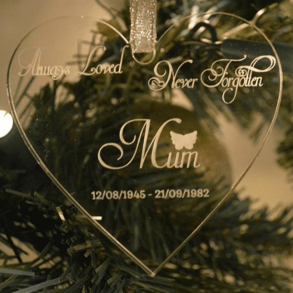 Memorial Christmas Ornaments.Always Loved Never Forgotten Heart Christmas Tree Ornament