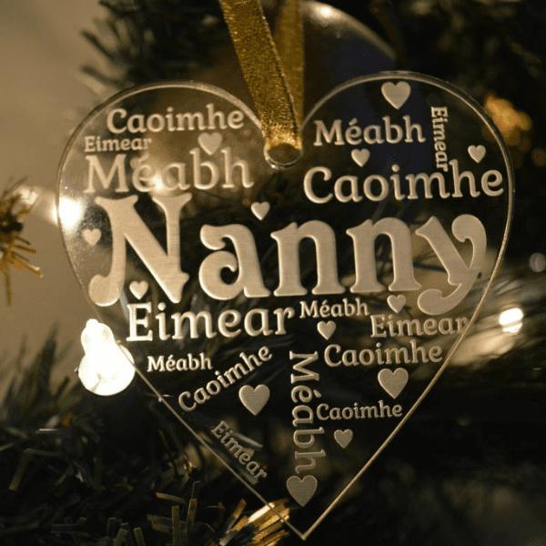 Grandparent Heart Christmas Tree Ornament
