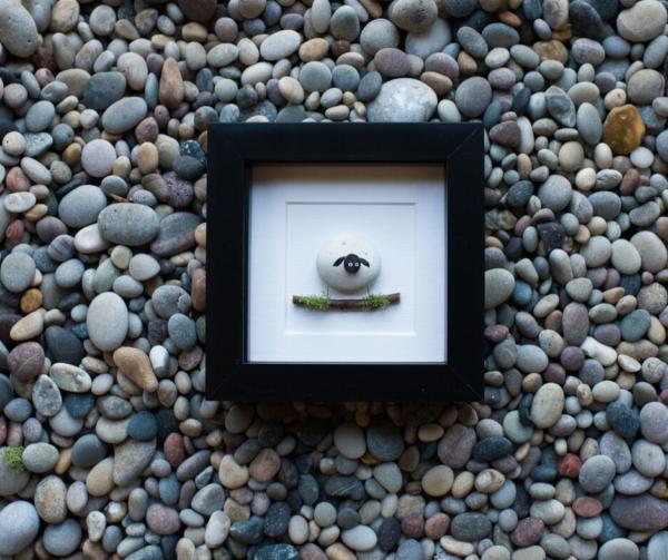 sheep pebble art