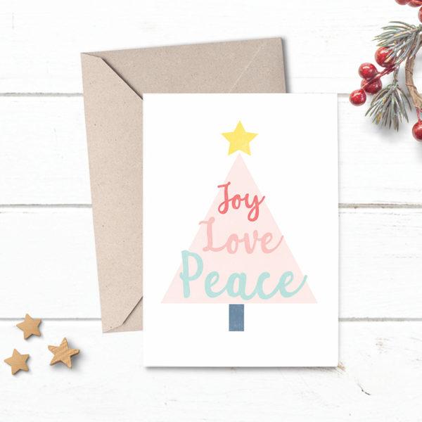 peace love and joy christmas cards