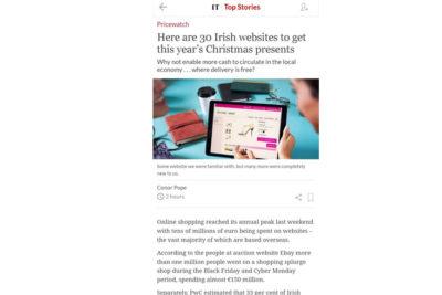 """Irish Times – """"…cuando.ie is quite brilliant.."""" Dec 2019"""