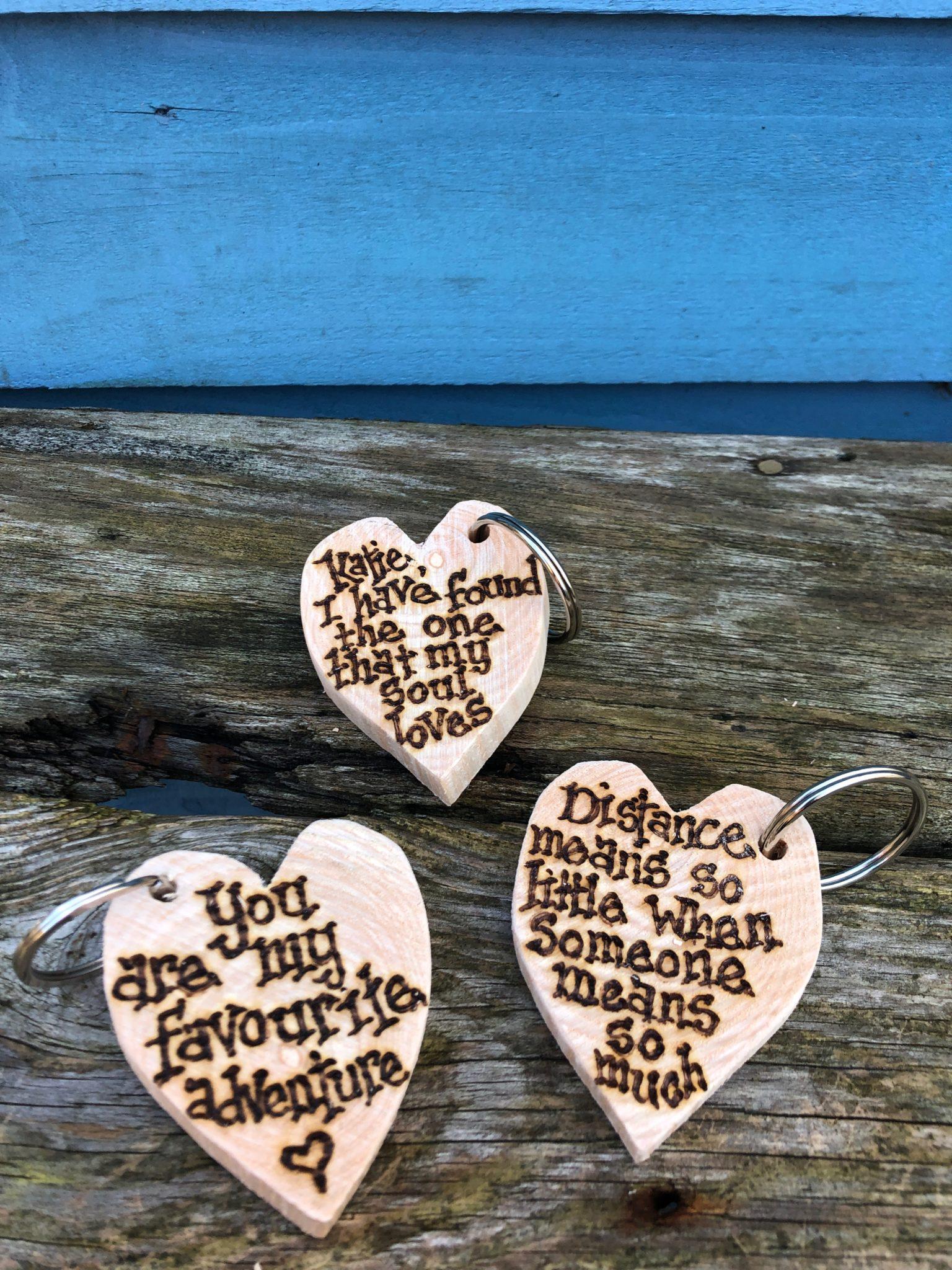 Personalised Wood Rectangle Keyring Pyrography Gift Handmade Valentine