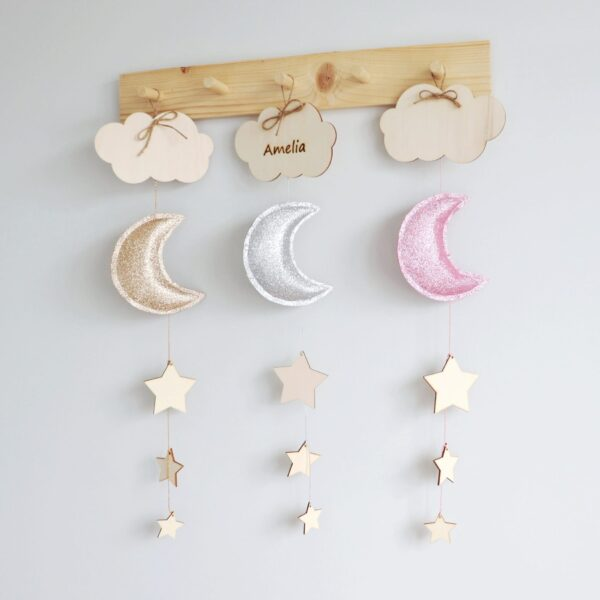 personalised moon and stars wall decoration