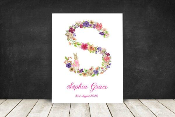 floral letter name print