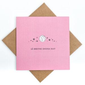 gaelic football pink birthday card