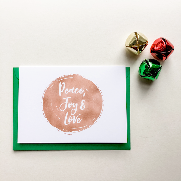 peace joy love christmas card
