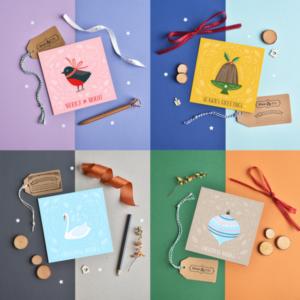 cute colourful christmas card set