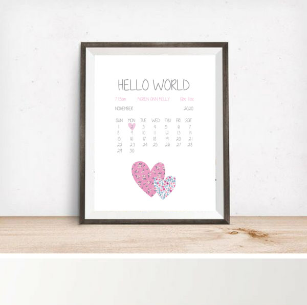 personalised baby birth details print