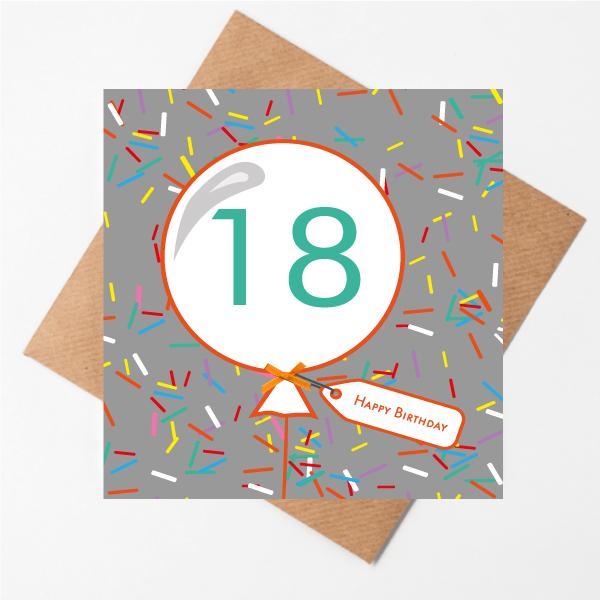18th birthday sprinkles card
