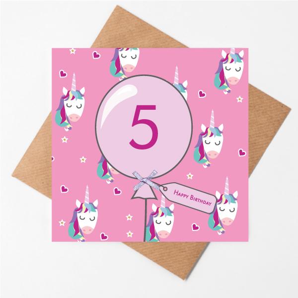 5th birthday unicorn card