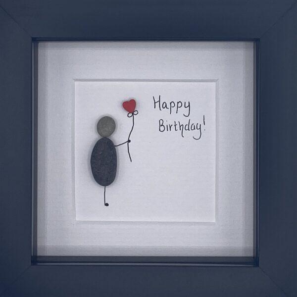 happy birthday pebble art