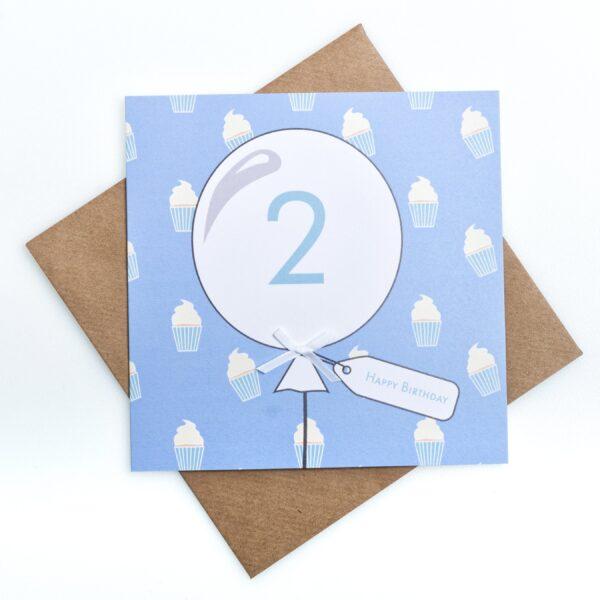 blue 2nd birthday card