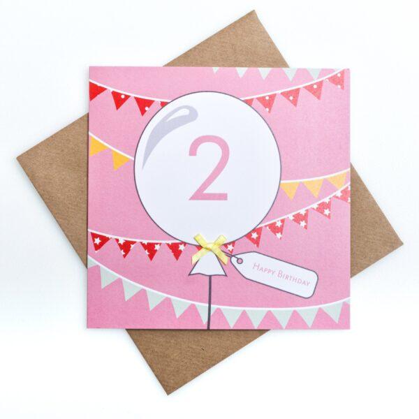 pink happy second birthday card