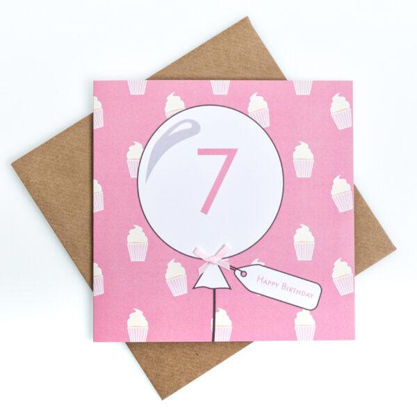 7th birthday cupcake card