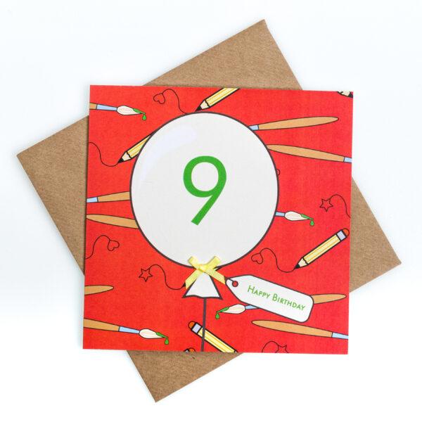 9th birthday art card