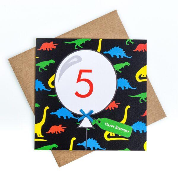 5th birthday dinosaur card