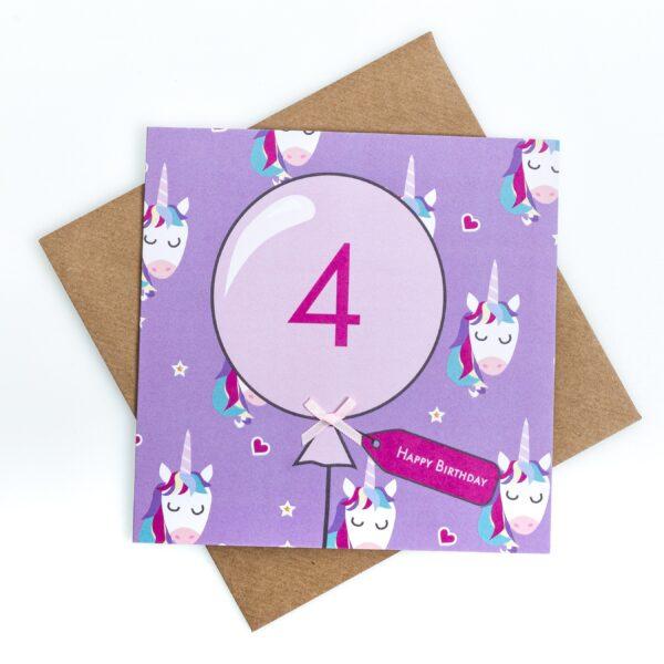 4th birthday unicorn card