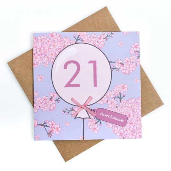 21st birthday cherry blossom card