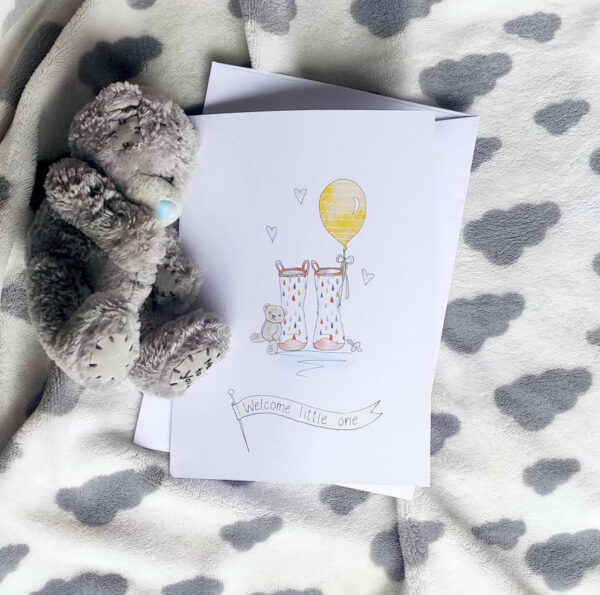 new baby welly boot greeting card