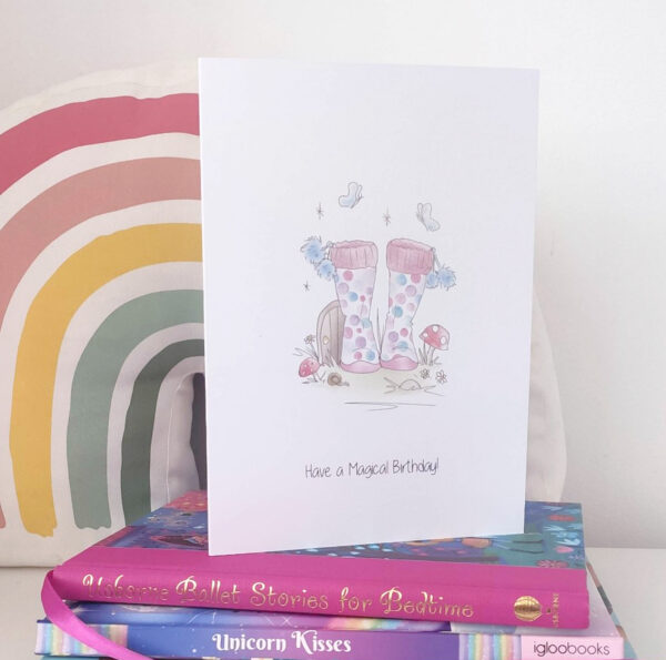 welly boot greeting card